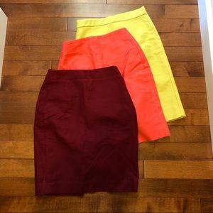 Lot of 3 J.Crew No. 2 pencil skirts